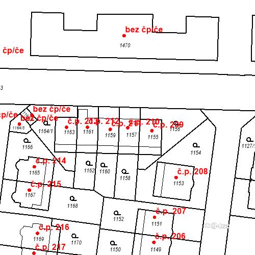 Katastrální mapa Stavební objekt Střešovice 210, Praha