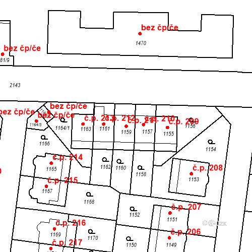 Katastrální mapa Stavební objekt Střešovice 211, Praha
