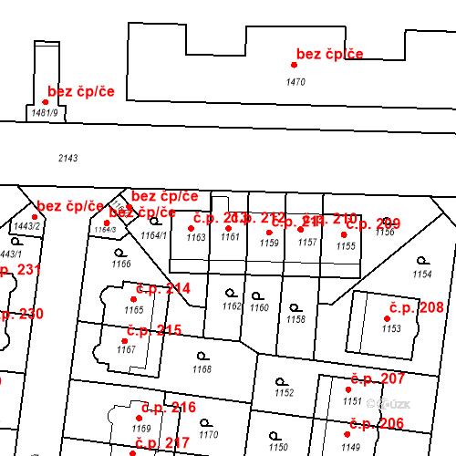 Katastrální mapa Stavební objekt Střešovice 212, Praha