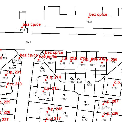 Katastrální mapa Stavební objekt Střešovice 213, Praha