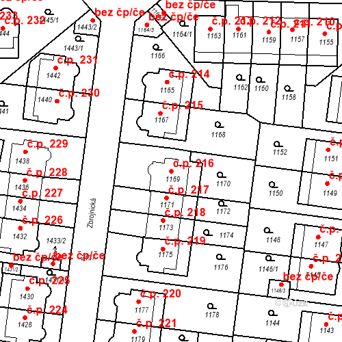 Katastrální mapa Stavební objekt Střešovice 216, Praha