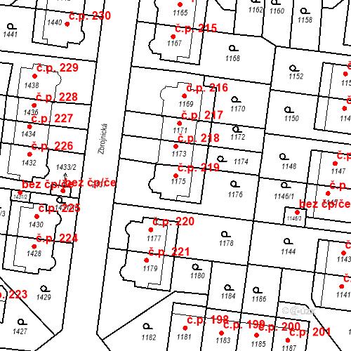 Katastrální mapa Stavební objekt Střešovice 219, Praha