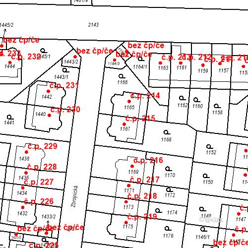 Katastrální mapa Stavební objekt Střešovice 215, Praha