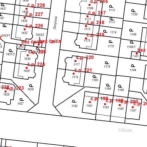 Katastrální mapa Stavební objekt Střešovice 221, Praha