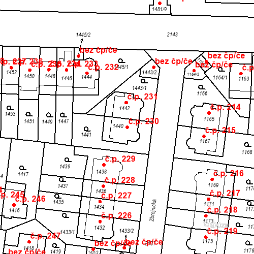 Katastrální mapa Stavební objekt Střešovice 230, Praha
