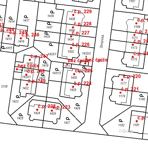 Katastrální mapa Stavební objekt Střešovice 225, Praha