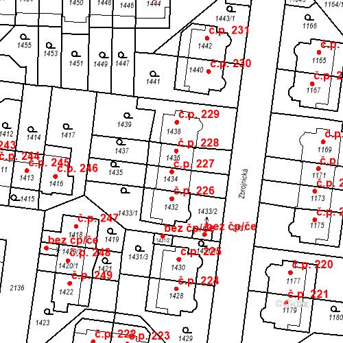 Katastrální mapa Stavební objekt Střešovice 227, Praha