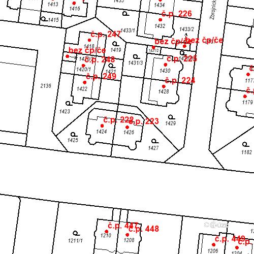 Katastrální mapa Stavební objekt Střešovice 223, Praha