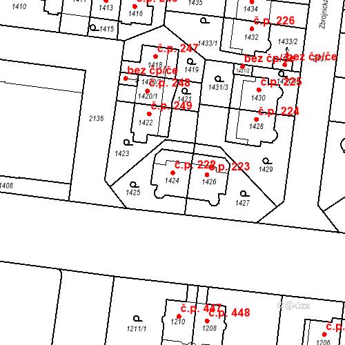 Katastrální mapa Stavební objekt Střešovice 222, Praha