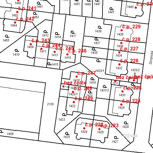 Katastrální mapa Stavební objekt Střešovice 247, Praha