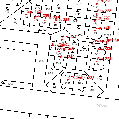 Katastrální mapa Stavební objekt Střešovice 249, Praha