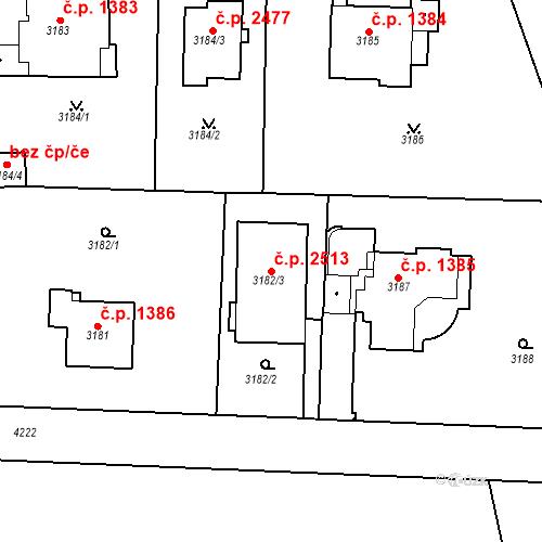 Katastrální mapa Stavební objekt Dejvice 2513, Praha
