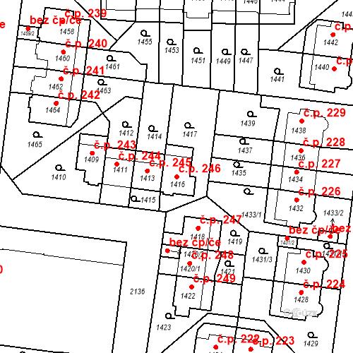 Katastrální mapa Stavební objekt Střešovice 246, Praha