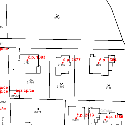 Katastrální mapa Stavební objekt Dejvice 2477, Praha