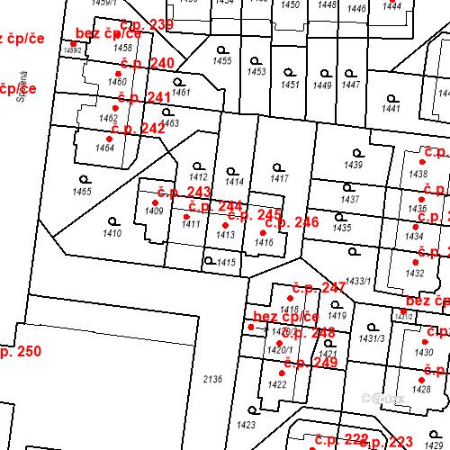 Katastrální mapa Stavební objekt Střešovice 245, Praha