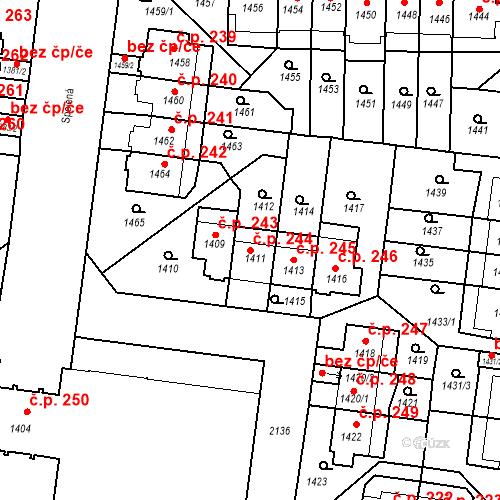 Katastrální mapa Stavební objekt Střešovice 244, Praha
