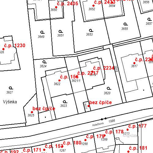 Katastrální mapa Stavební objekt Smíchov 2217, Praha