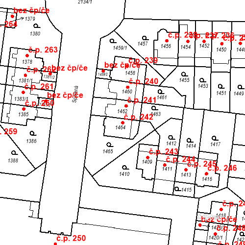 Katastrální mapa Stavební objekt Střešovice 242, Praha