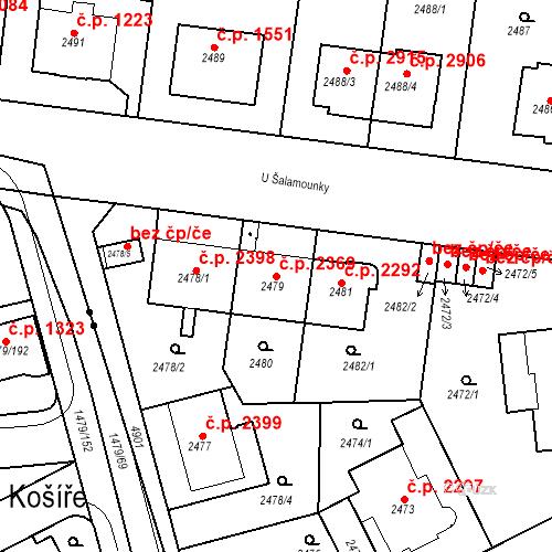 Katastrální mapa Stavební objekt Smíchov 2369, Praha