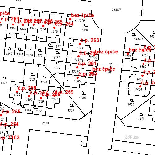 Katastrální mapa Stavební objekt Střešovice 260, Praha