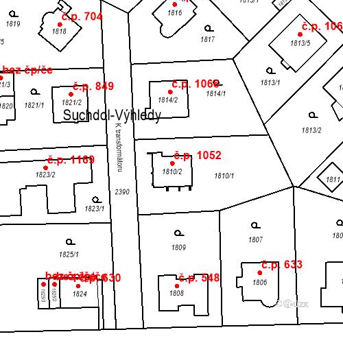 Katastrální mapa Stavební objekt Suchdol 1052, Praha