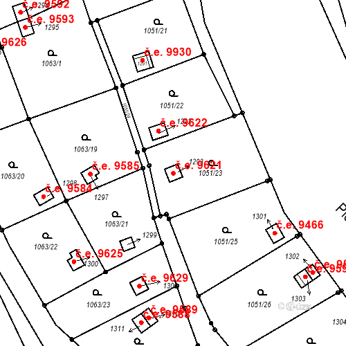 Katastrální mapa Stavební objekt Děčín III-Staré Město 9621, Děčín
