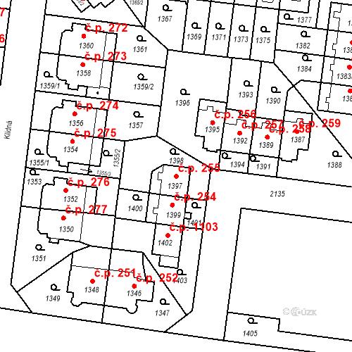 Katastrální mapa Stavební objekt Střešovice 255, Praha
