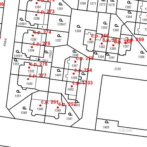 Katastrální mapa Stavební objekt Střešovice 254, Praha