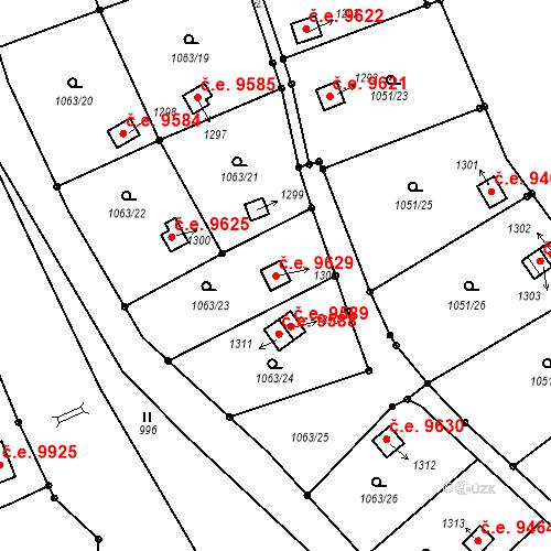 Katastrální mapa Stavební objekt Děčín III-Staré Město 9629, Děčín