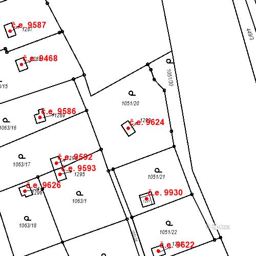 Katastrální mapa Stavební objekt Děčín III-Staré Město 9624, Děčín
