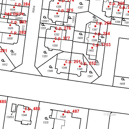 Katastrální mapa Stavební objekt Střešovice 251, Praha