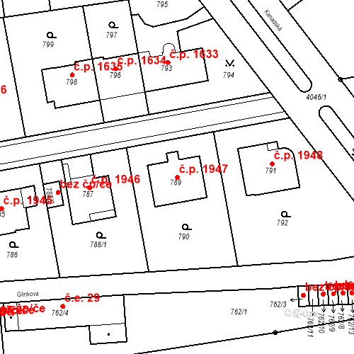 Katastrální mapa Stavební objekt Dejvice 1947, Praha