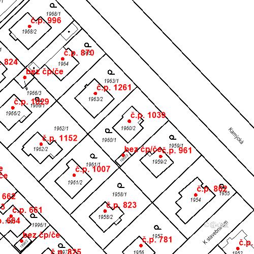 Katastrální mapa Stavební objekt Suchdol 1039, Praha