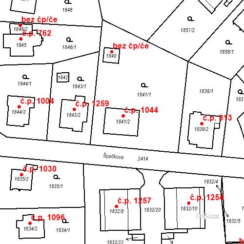 Katastrální mapa Stavební objekt Suchdol 1044, Praha