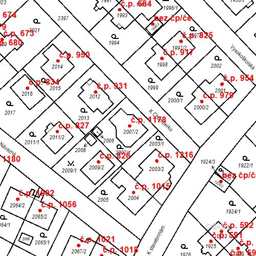 Katastrální mapa Stavební objekt Suchdol 1178, Praha