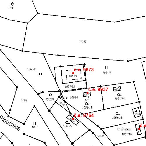 Katastrální mapa Stavební objekt Děčín III-Staré Město 9673, Děčín