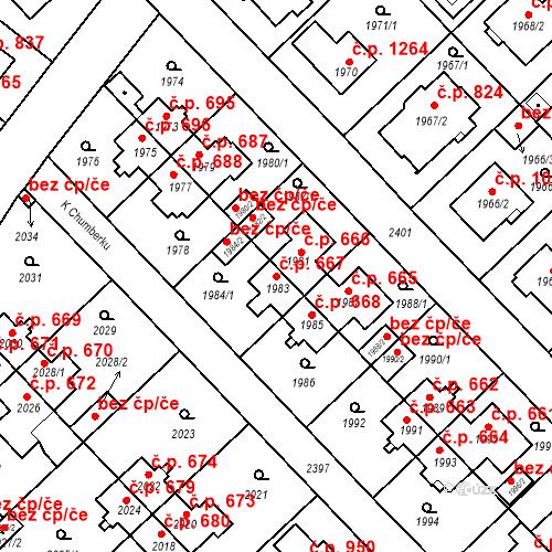Katastrální mapa Stavební objekt Suchdol 667, Praha