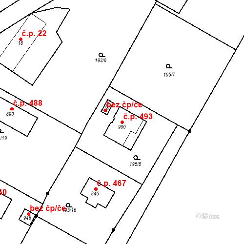 Katastrální mapa Stavební objekt Březová 493, Březová-Oleško