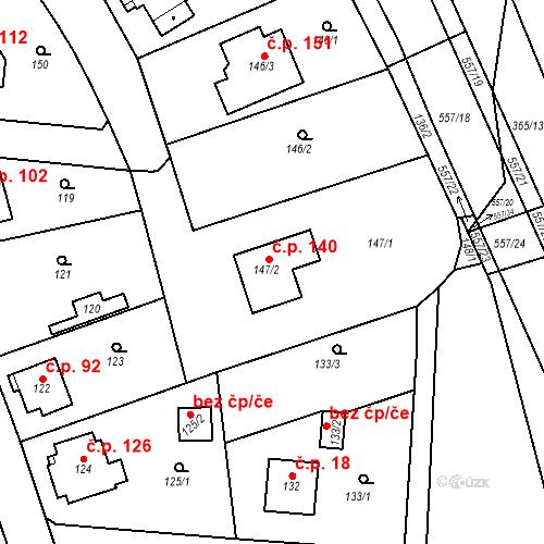 Katastrální mapa Stavební objekt Lahovice 140, Praha