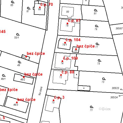 Katastrální mapa Stavební objekt Lahovice 109, Praha