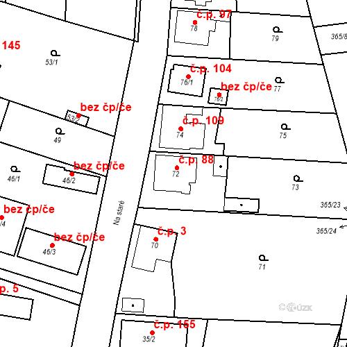 Katastrální mapa Stavební objekt Lahovice 88, Praha