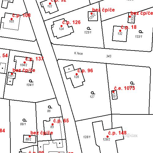 Katastrální mapa Stavební objekt Lahovice 96, Praha