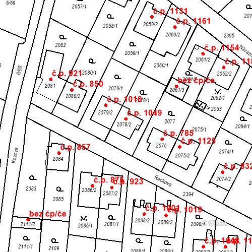 Katastrální mapa Stavební objekt Suchdol 1049, Praha