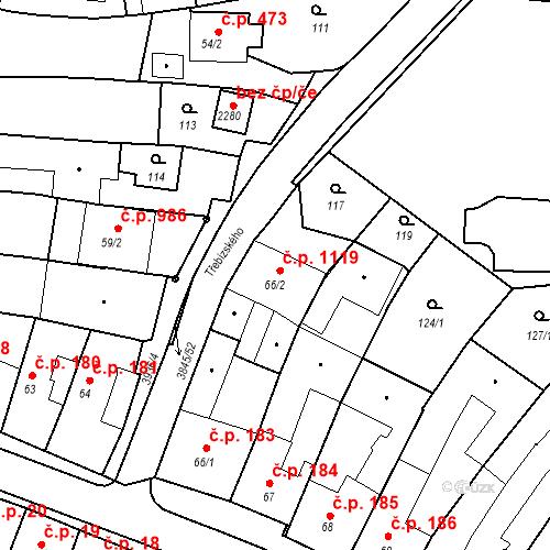 Katastrální mapa Stavební objekt Trhové Sviny 1119, Trhové Sviny