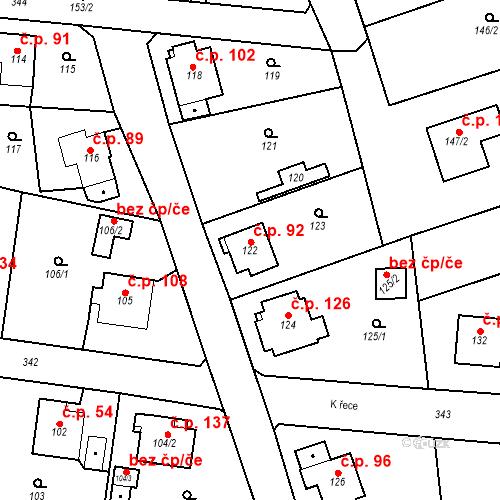 Katastrální mapa Stavební objekt Lahovice 92, Praha
