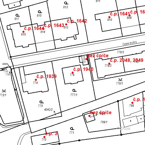 Katastrální mapa Stavební objekt Dejvice 1940, Praha
