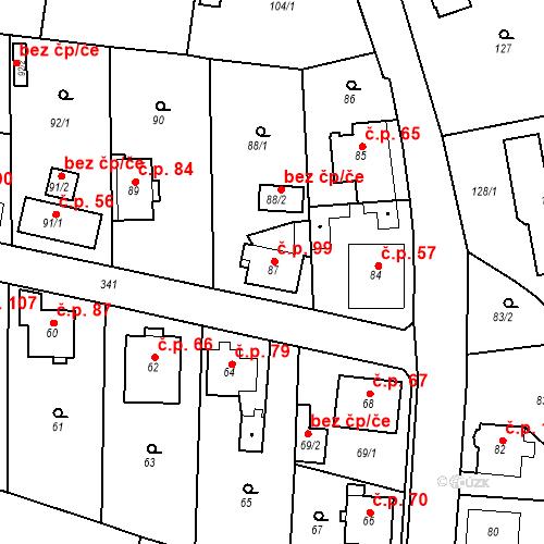 Katastrální mapa Stavební objekt Lahovice 99, Praha