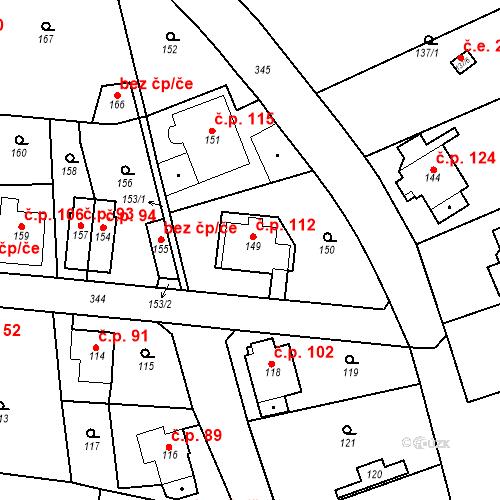 Katastrální mapa Stavební objekt Lahovice 112, Praha
