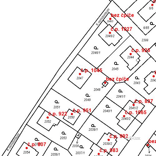 Katastrální mapa Stavební objekt Suchdol 1045, Praha