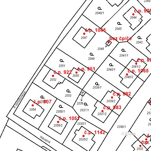 Katastrální mapa Stavební objekt Suchdol 951, Praha